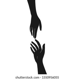 Two hands are drawn to each other. Black silhouettes isolated on white background. Vector illustration