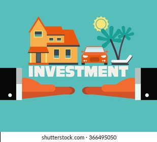 Two hands with dreaming house, car and travel. Saving and investing money concept. Future financial planning concept. Modern vector flat design. Insurance, credit cards, mortgages and banking service