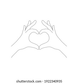 Two hands in the form of a heart icon love sign