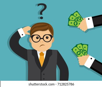 Two hands give the man money The man doubts and thinks about taking a bribe