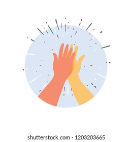 Two hands giving a high five for great work. Vector illustration of friendship and giving a high five as a symbol of great work achievement. People team give hand slapping
