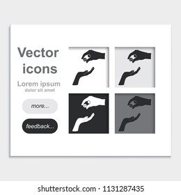 Two hands giving a money placed on web page template flat vector icon.