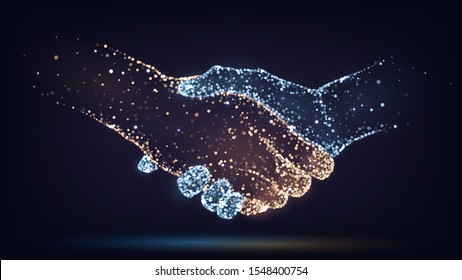 Two hands of glowing particles, orange and blue, handshake,  business, trust concept