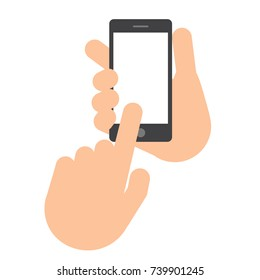 Two hands. The hand holds the smartphone. The second hand with the index finger makes a choice. Set Application Template illustration of a smartphone. Vector icons, emblem. Flat style
