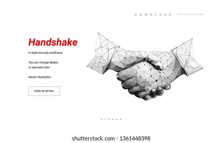 Two hands. Handshake. Abstract illustration isolated on white background. Low poly wireframe. Gesture hands. Business symbol.  Particles are connected in a geometric silhouette. Hi-tech 3d illustratio