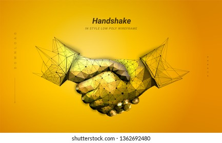 Two hands. Handshake. Abstract illustration isolated on orange background. Low poly wireframe. Gesture hands. Business symbol.  Particles are connected in a geometric silhouette. Hi-tech illustration