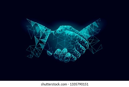 Two hands handshake business agreement. Low poly polygonal triangle professional work partnership.