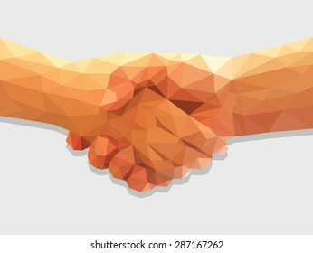 two hands handshake polygonal low poly contract agreement full color.