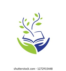 Two hands hold a book and green sprout, education and ecology. Logo, sign, symbol in smooth lines