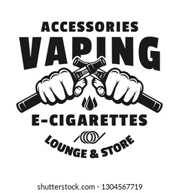 Two hands hold electronic cigarettes for vaping vector monochrome emblem, badge, label or logo isolated on white background