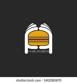 Two hands hold a hamburger logo, burger fastfood restaurant flat emblem