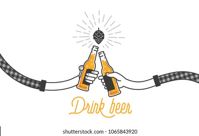 Two hands holding two beer bottles. Clinking glasses in plaid shirt. Party celebration in a pub. Isolated vector illustration of two drunk person drinking beer on white background. Cheers mate.
