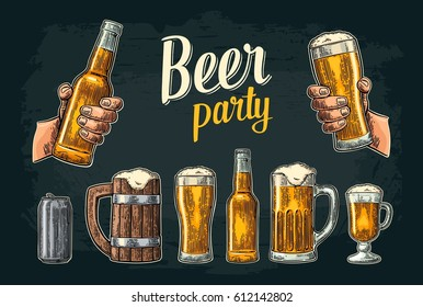 Two hands holding beer glass and bottle. Vintage vector color engraving illustration for web, poster, invitation to party. Isolated on dark background.