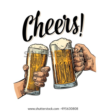Two Hands Holding Clinking Two Beer Stock Vector (Royalty ...