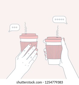 Two hands holding coffee cups. Chatting friends. Vector illustration