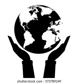 Two hands holding globe earth black and white color. Vector illustration  love and save earth concept design.