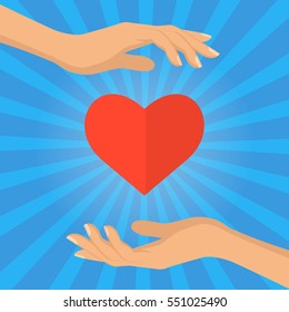 Two hands holding the heart. Concept - people love the giver, as well as concept - donation, heart health protection. Vector flat illustration.