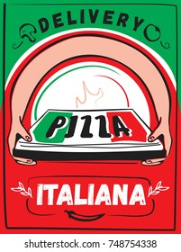 Two hands holding a pizza box. Delivery italian pizza. Pizza box. Vector illustration.