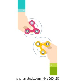 Two hands holding popular fidget spinner toy, stress relief. Flat style vector illustration