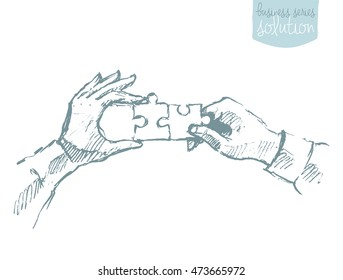 Two hands holding puzzle. Teamwork, collaboration concept. Vector illustration, sketch