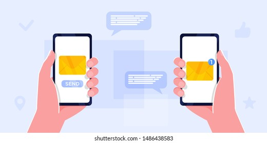 Two Hands holding smartphone with new message notification on screen. Mobile phone alert about new email. Send message, news, image, like, sms. Sharing multimedia, Vector cartoon design isolated