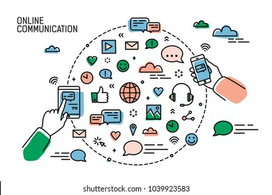 Two hands holding smartphones and symbols of social media, internet networks, chatting and instant messaging arranged in round shape. Online communication. Vector illustration in line art style.