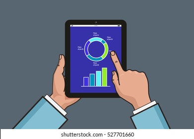 two hands holding tablet with business diagram and chart. Business report illustration. Flat line style design. Vector illustration on gray background.
