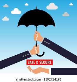 Two Hands holding umbrella. Two arms with umbrella. Protection and safety concept vector illustration.