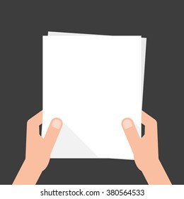 two hands holding white sheet. concept of notice, display, contract notify, announce, postcard, gesture, without list, tag, placard. flat style modern design vector illustration on black background