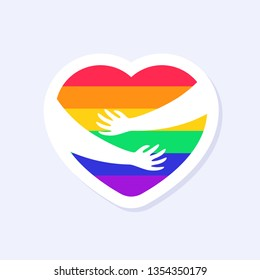 Two Hands Hugging a Heart. LGBTQ+ related symbol in rainbow colors. Gay Pride. Raibow Community Pride Month. Love, Freedom, Support, Peace Symbol. Flat Vector Design Isolated on White Background