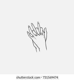 Two hands with interlocked or intertwined fingers hand drawn by black contour lines on white background. Symbol of love, close relationship, trust, tenderness, support. Monochrome vector illustration.