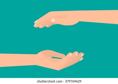 Two hands making empty space between. Frame, template for your design. Isolated vector illustration flat style.