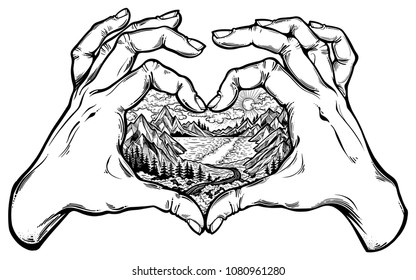 Two hands making heart sign with wilderness landscape scene with a lake, road, pine forest and mountains inside. Vector illustration isolated. Adventure artwork for love of travel wanderlust tattoo.