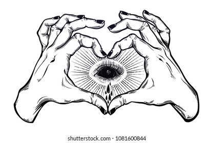 Two hands making heart sign with black empty evil eye crying watery tears. Alchemy, religion, spirituality, occultism, flash tattoo art. Isolated vector illustration. Decorative drawing.