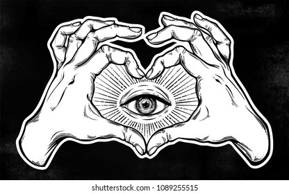 illuminati images stock photos vectors shutterstock Illuminati Symbols and Their Meanings two hands making heart sign with all seeing eye symbol vision of providence alchemy