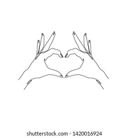 Two hands making heart sign continuous line drawing, social help service, love and volunteering, hands showing heart gesture, single line on a white background, Vector line art illustration with heart