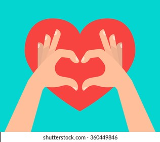 Two hands making heart sign. Love, romantic relationship concept. Isolated vector illustration flat style.
