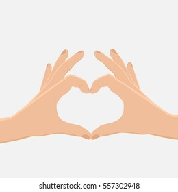 Two hands making heart sign. Love, romantic relationship concept. Isolated vector illustration flat style,valentine,teamwork