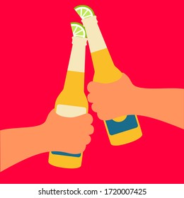 Two hands men flat design concept hold  two bottles of corona beer cheers isolated cartoon & lemon vector. enjoy in summer holiday atmosphere on beach background creative graphic. stop the coronavirus