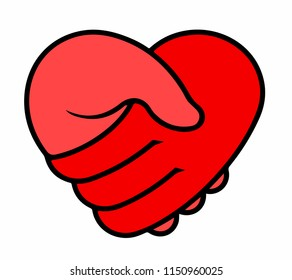 Two hands on heart, charity icon, organization of volunteers, family community. Helping Hand Logotype. Handshake in the form of heart emblem. Vector illustration.