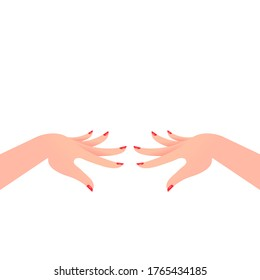 Two hands with painted nails. Manicure on nails, red bright nail polish, female graceful hands, keep in front of you. Fingers spread out. Vector illustration, flat cartoon design, eps 10.