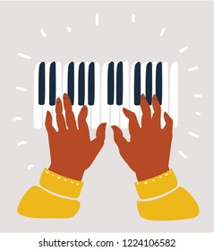 Two hands playing on piano keys. Black musician's fingers playing piano keyboard. Jazz, blues, funk or classical music. Vector cartoon illustration in modern concept