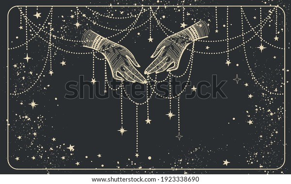 Two hands with precious threads on a black cosmic background. Boho design for palmistry, fortune teller divination, witch. Magic vector line illustration.