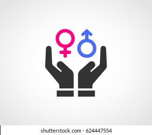 Two hands protecting Gender Equality.