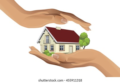 Two hands protecting the house - vector illustration