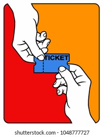 Two hands pull in different directions a ticket, white background, vector illustation