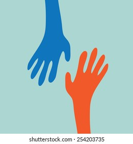 Two hands reaching one another