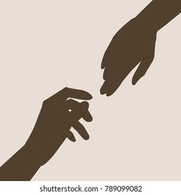 two hands silhouette reaching out for each other,vector illustration