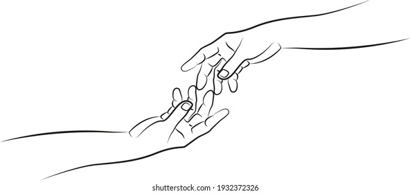 Two hands touching their fingers