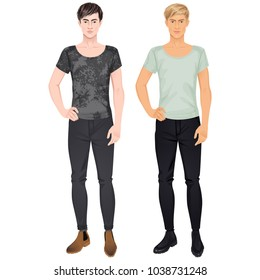 Two handsome guys in casual clothes. Paper dolls, all items removable. Vector illustration.